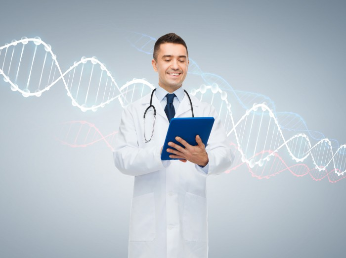 healthcare, technology, genetics, people and medicine concept - smiling male doctor in white coat with tablet pc computer and dna molecule formula over gray background