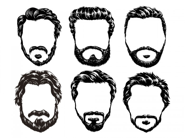 hand drawn hipster fashion men hair and beards set